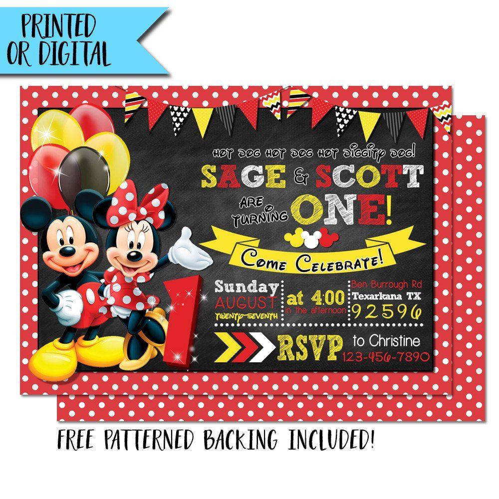Mickey and Minnie Twin Birthday Invitation - Mickey Minnie Mouse ...