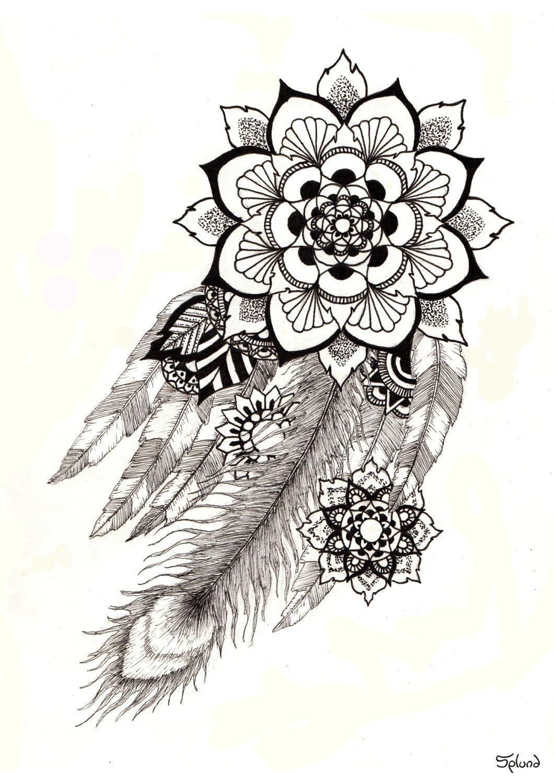 Feathers Mandala Print A3 by Splund on Etsy   Zen - Dangle, Doodle ...