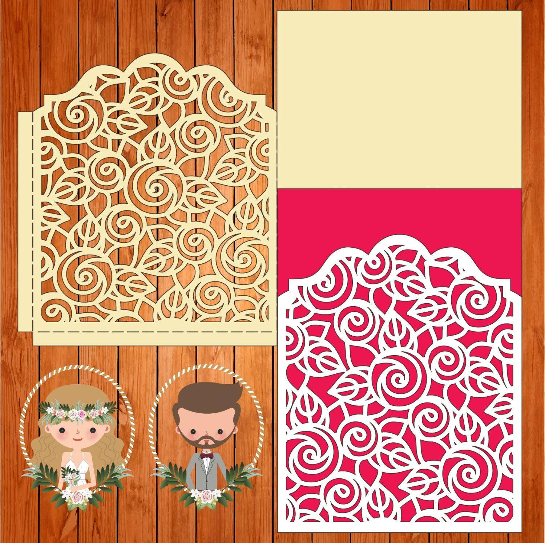 Invitación de la boda tarjeta plantilla encaje pliegues (studio V3 ...