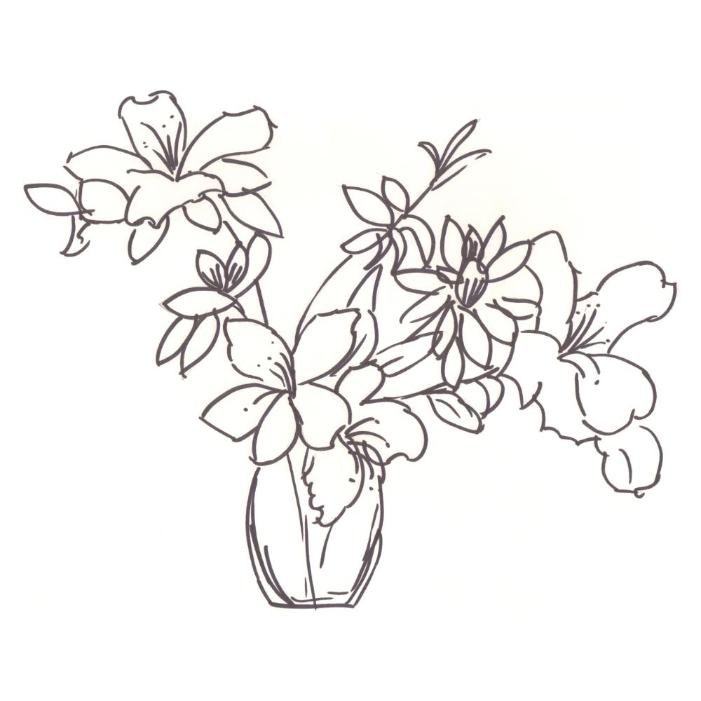 Vase Of Azaleas Drawing In 2020 Flower Drawing Black And White Vase Azalea Flower
