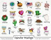 Calendar Holiday Icons Clip Art Clipart Watercolor Hand Drawn PNGS Commercial Use Planner Sti