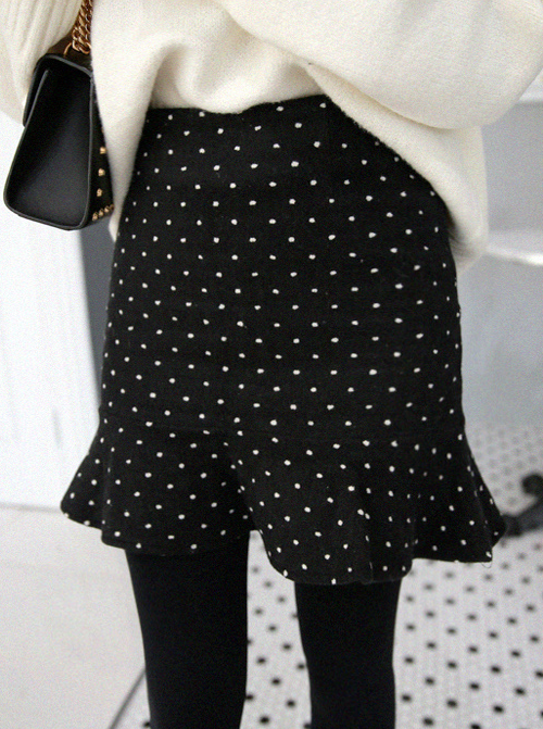 [MIAMASVIN] DOTTED RUFFLED HEM MINI SKIRT