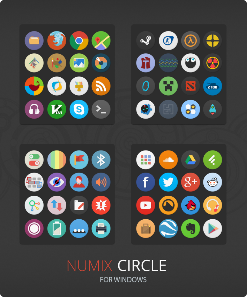 Numix Circle Windows Desktop Icon Theme By Neiio Deviantart Com On Deviantart Desktop Icons Linux Icon