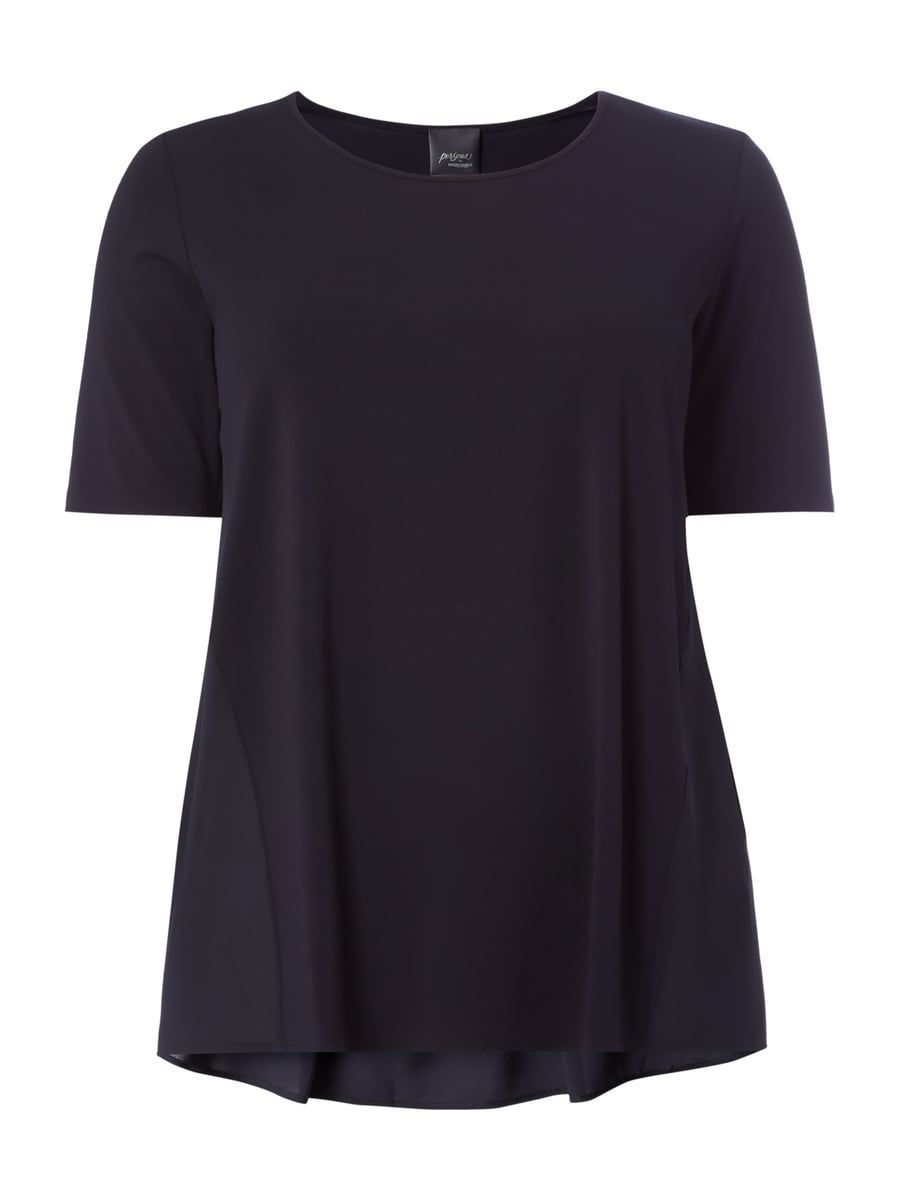 Plus Size Blusenshirt Mit Kontrastruckseite Blau Turkis 1