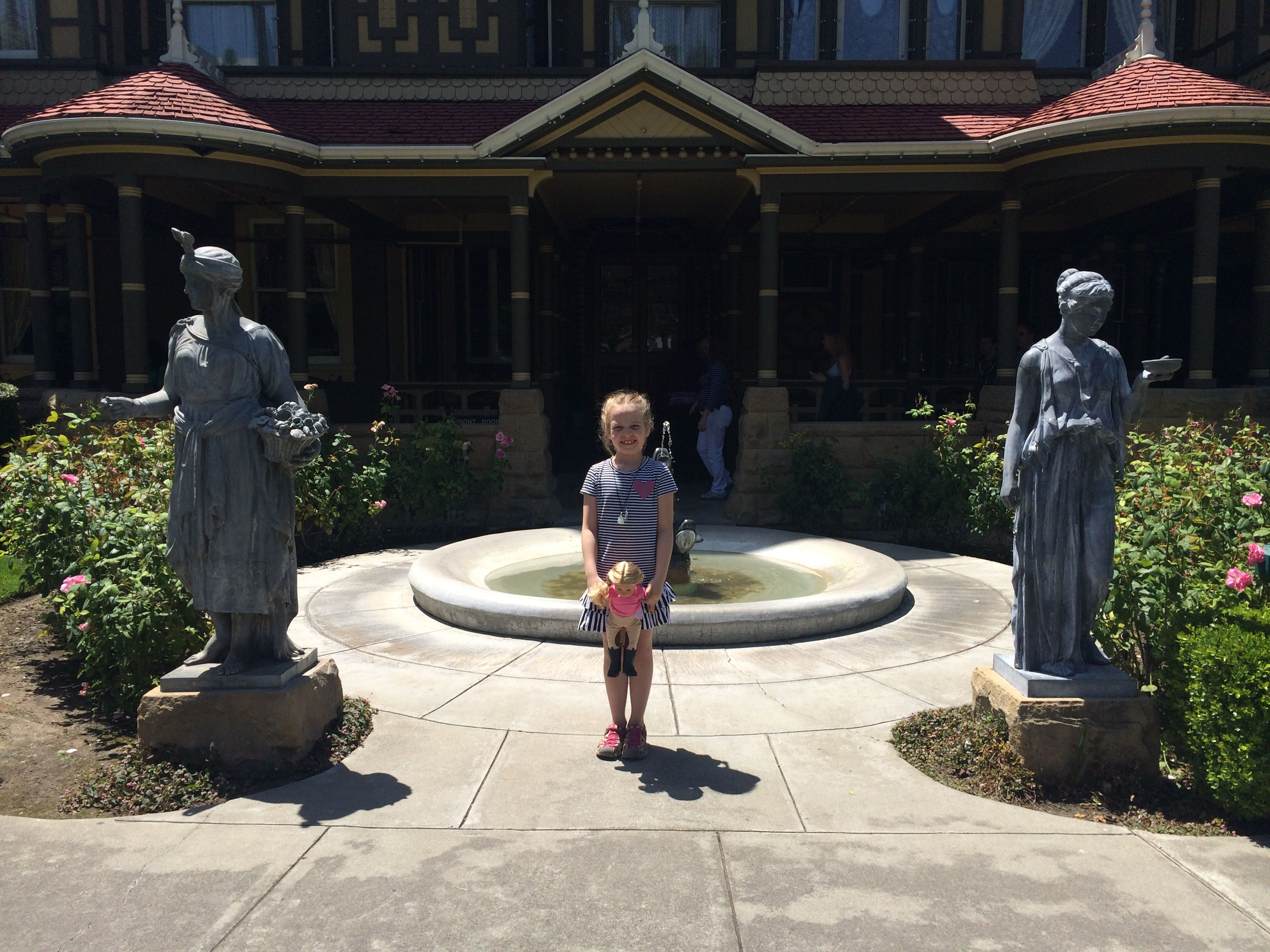 statues in front of the house winchester mansion pinterest