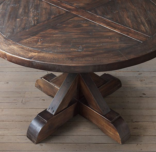 Salvaged Wood X Base Round Dining Table