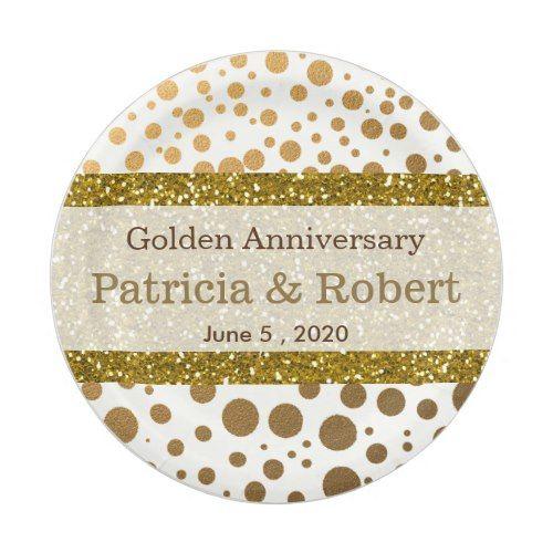 Gold Confetti Dots 50th Wedding Anniversary Paper Plate  sc 1 st  Pinterest & Gold Confetti Dots 50th Wedding Anniversary Paper Plate   Gold ...