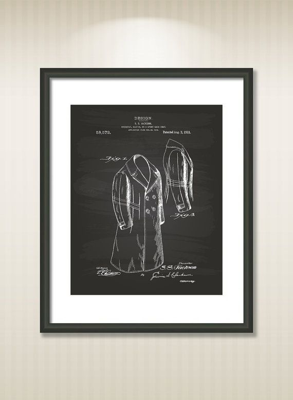Overcoat 1972 Patent Art Illustration - Drawing - Printable INSTANT DOWNLOAD - Get 5 Colors Background