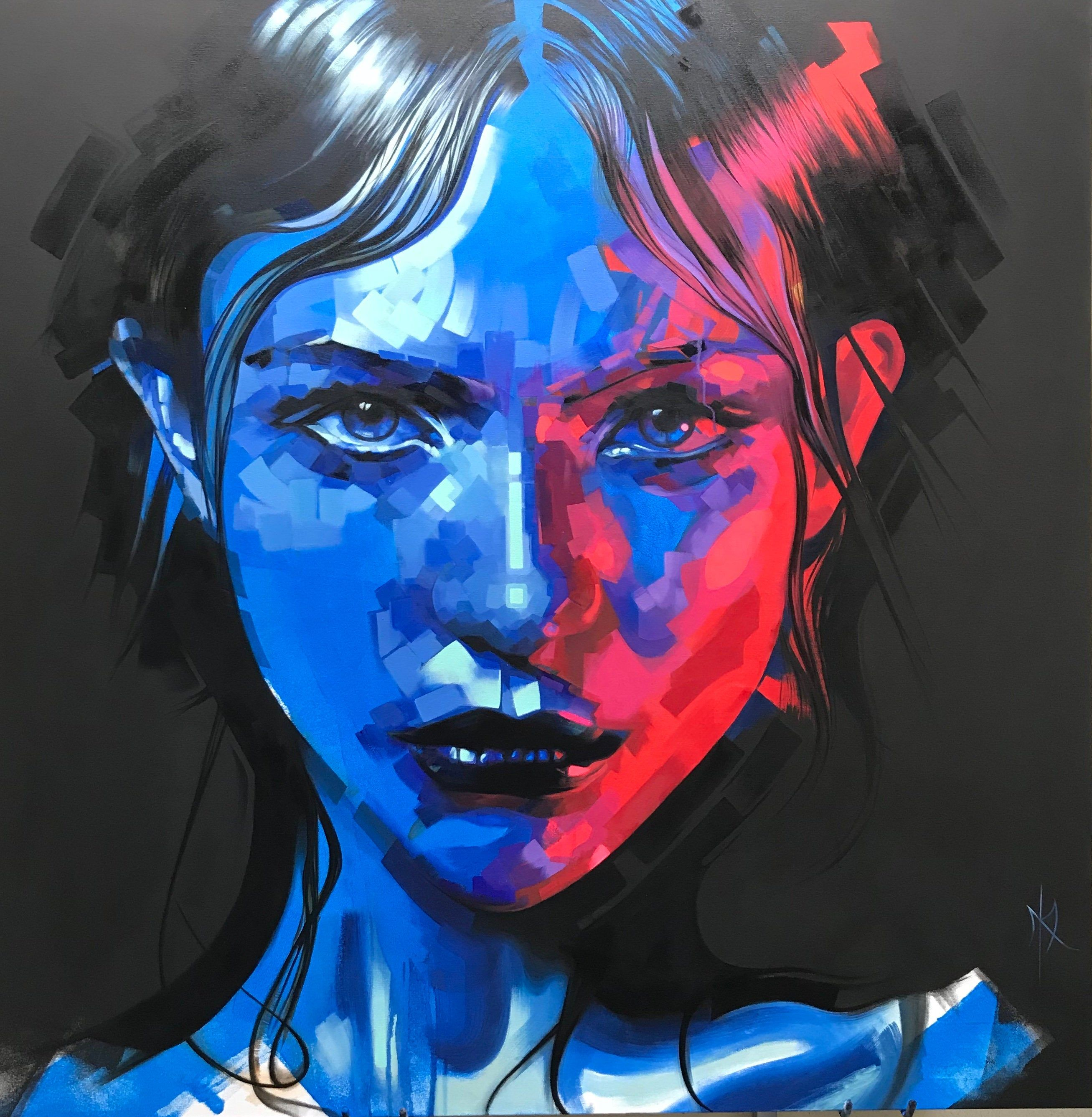 Natalya original oil portrait blue and red - Fictional Portraits - Abstract Portrait Art - Oil Painting - Fine Art - giclee - print by MichelleKohlerArt on Etsy