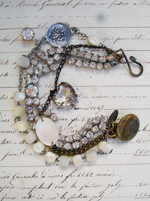 3 Strands Bracelet with Rhinestone Bow by PaulaMontgomery on Etsy, $100.00