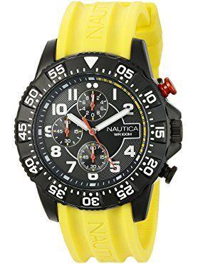 Nautica Men's NAD17515G NSR 104 Analog Display Analog Quartz Yellow Watch ❤ Nautica