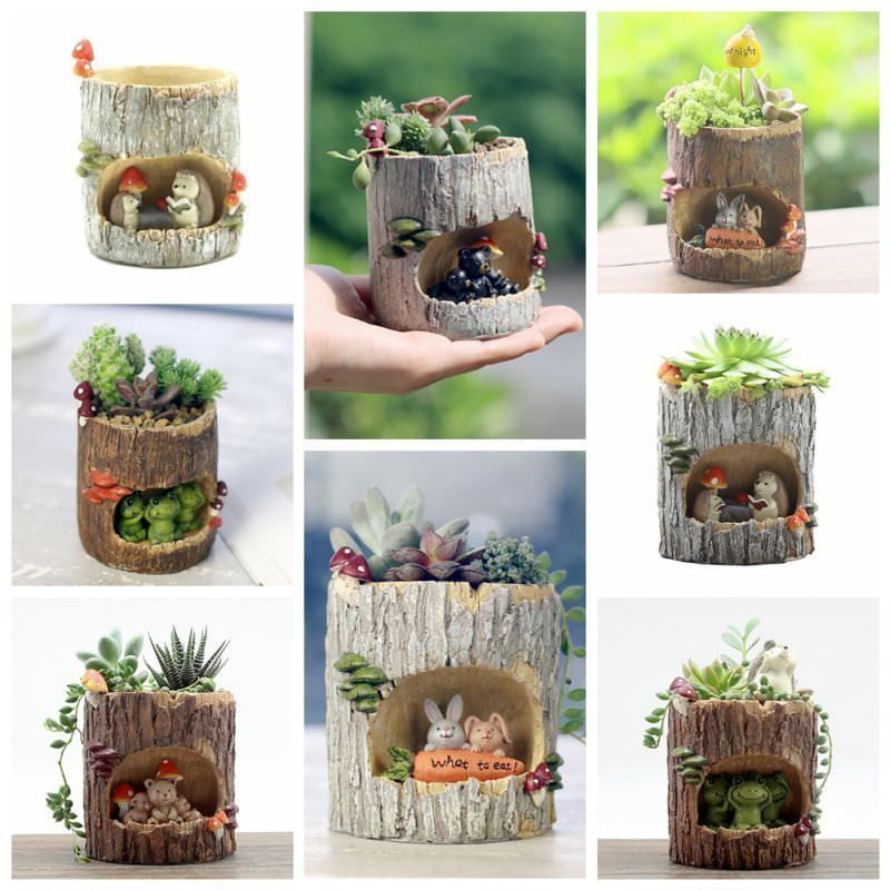 Us Resin Flower Pot Planter Holder Succulent Plants Pot Home
