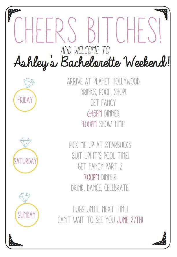Image Result For Bachelorette Party Agenda Template In 2019