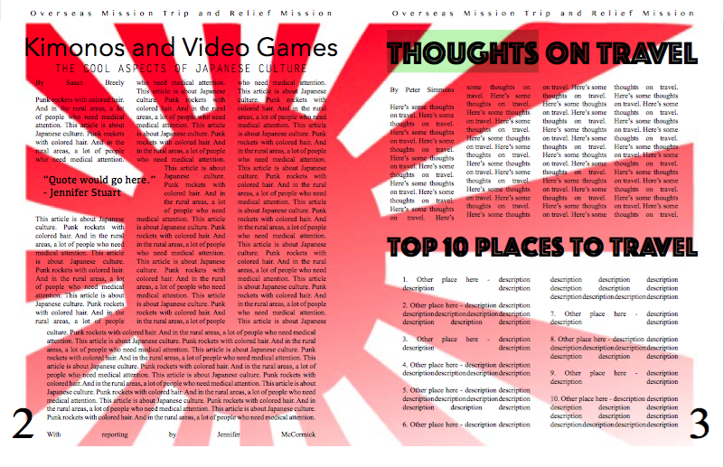 Print Screen of Newsletter Page 2&3