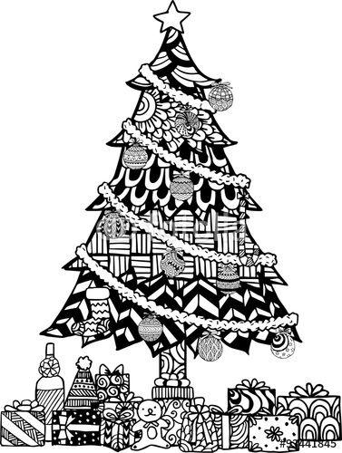 Vector Hand Drawn Christmas Tree Zentangle Style With Christmas Balls And Gift Boxes Christmas Doodles Christmas Tree Zentangle Christmas Tree Coloring Page