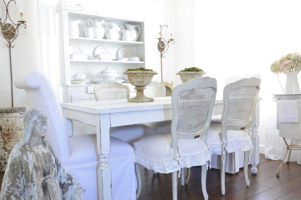 Wingback Chair Covers For Shabby Chic Style Dining Room And Cane Furniture