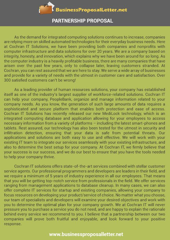 Partnership Proposal Samplebusinessproposalletter – Partnership Proposal Template
