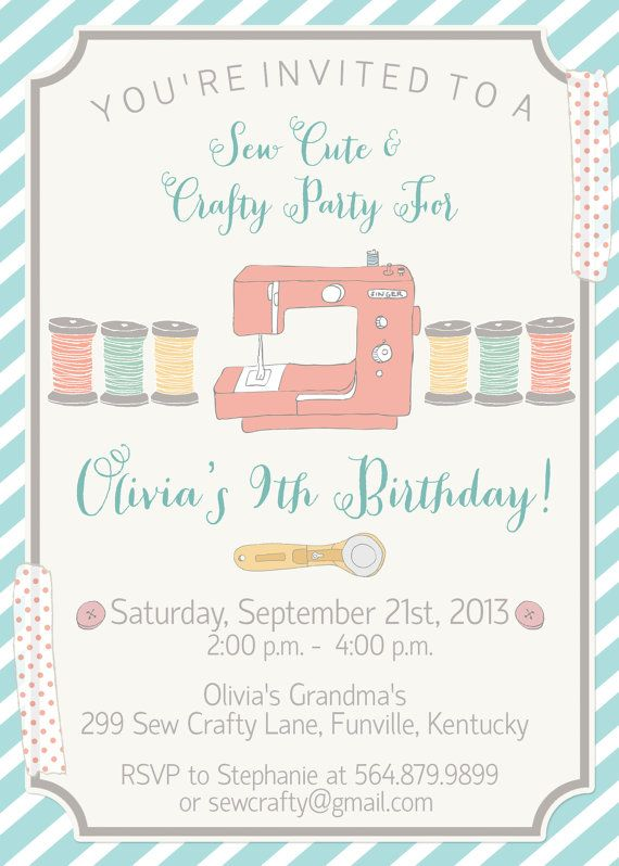Sew Cute and Crafty Invite 5x7 JPG by CherryBerryDesign on Etsy