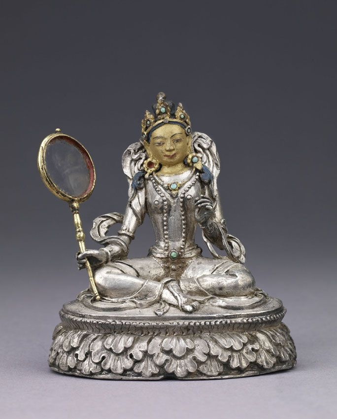 Very Special Statue of Dorje Yudronma, protector of Buddhism, Bhutan, 1800-1900, silver, turquoise, cold gold, pigments. The drum is made of gilt metal & glass. Lent by Norbugang Zimgong Lhakhang, Punakha, Bhutan.