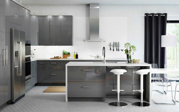 Merveilleux Ikea Meuble Design Ilot Central Cuisine Moderne Tabourets Idée