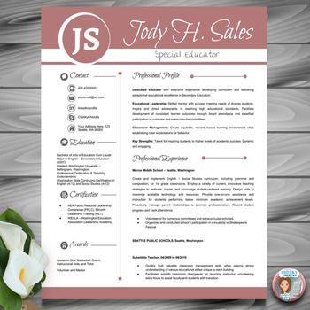 Resume Template Teacher CV + Cover and Reference Letters (Red) MS