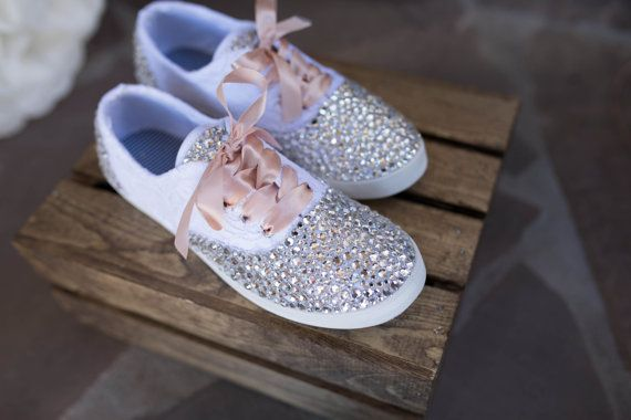 Custom Lace and Rhinestone Wedding Shoes  by JustAHintOfSparkle