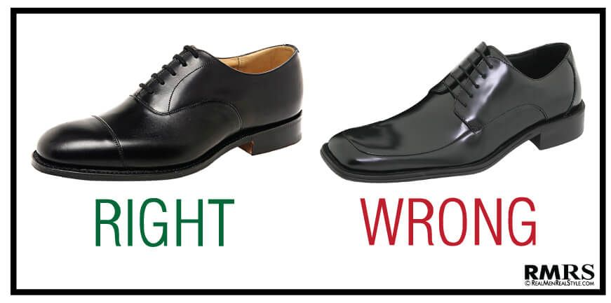 Dress Shoes Right Round Toe Lace Up Oxford Wrong Square