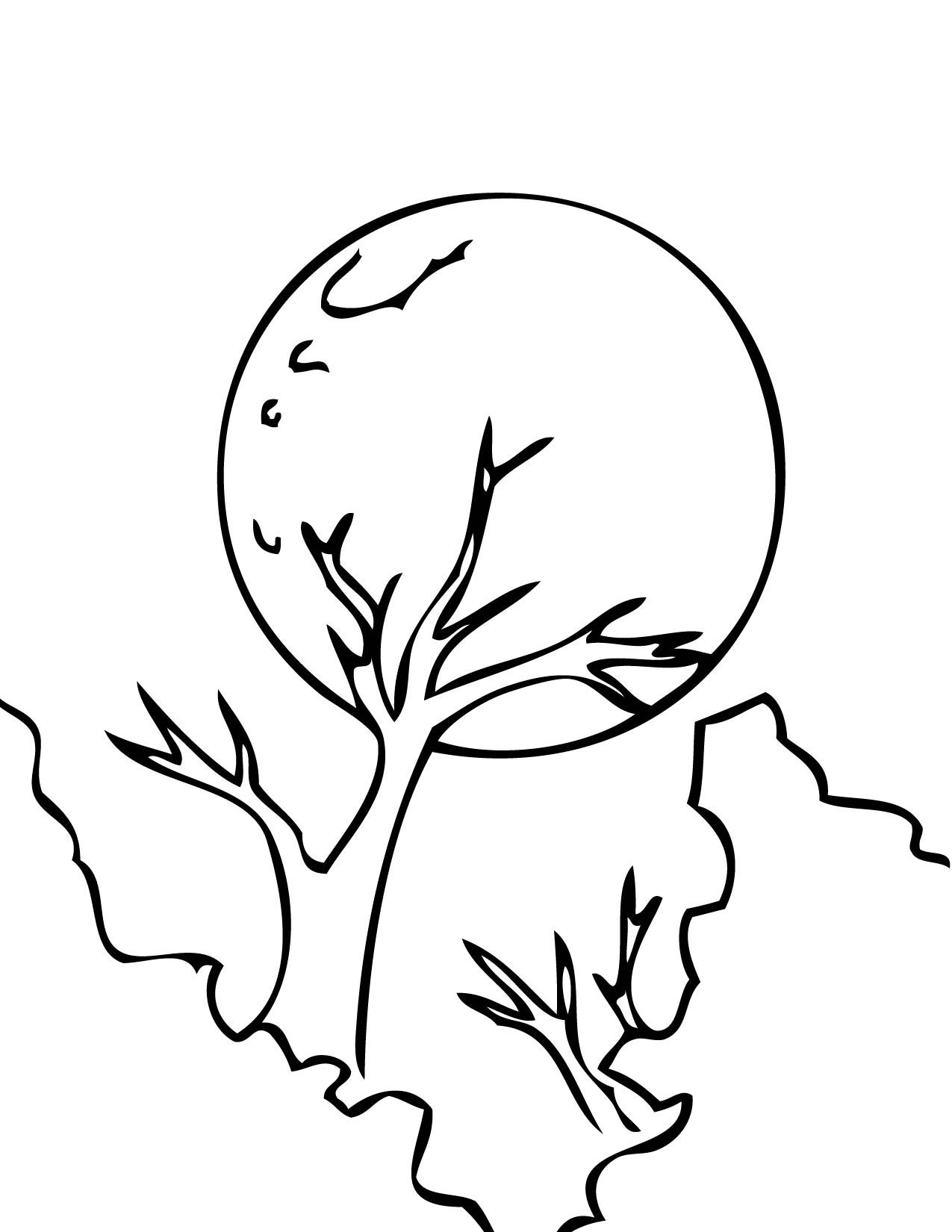 Full Moon Coloring Page Moon Coloring Pages Inspire Kids