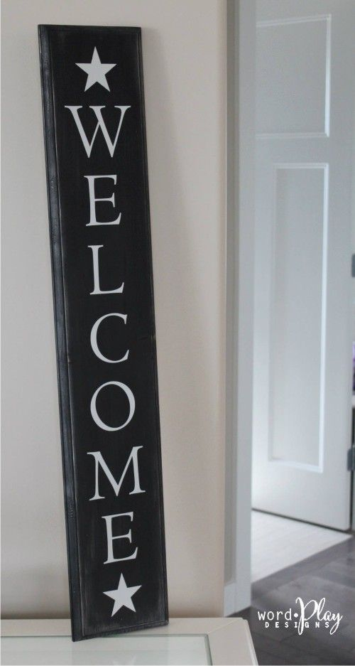 Vertical Welcome Sign Entryway Pinterest Porch