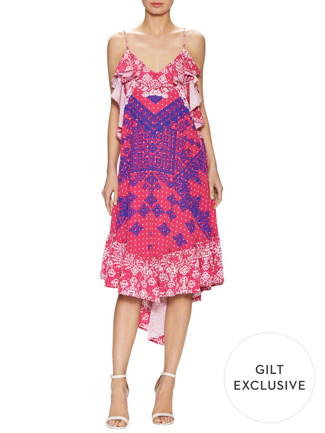 1st sight Open Side Printed High Low Dress
