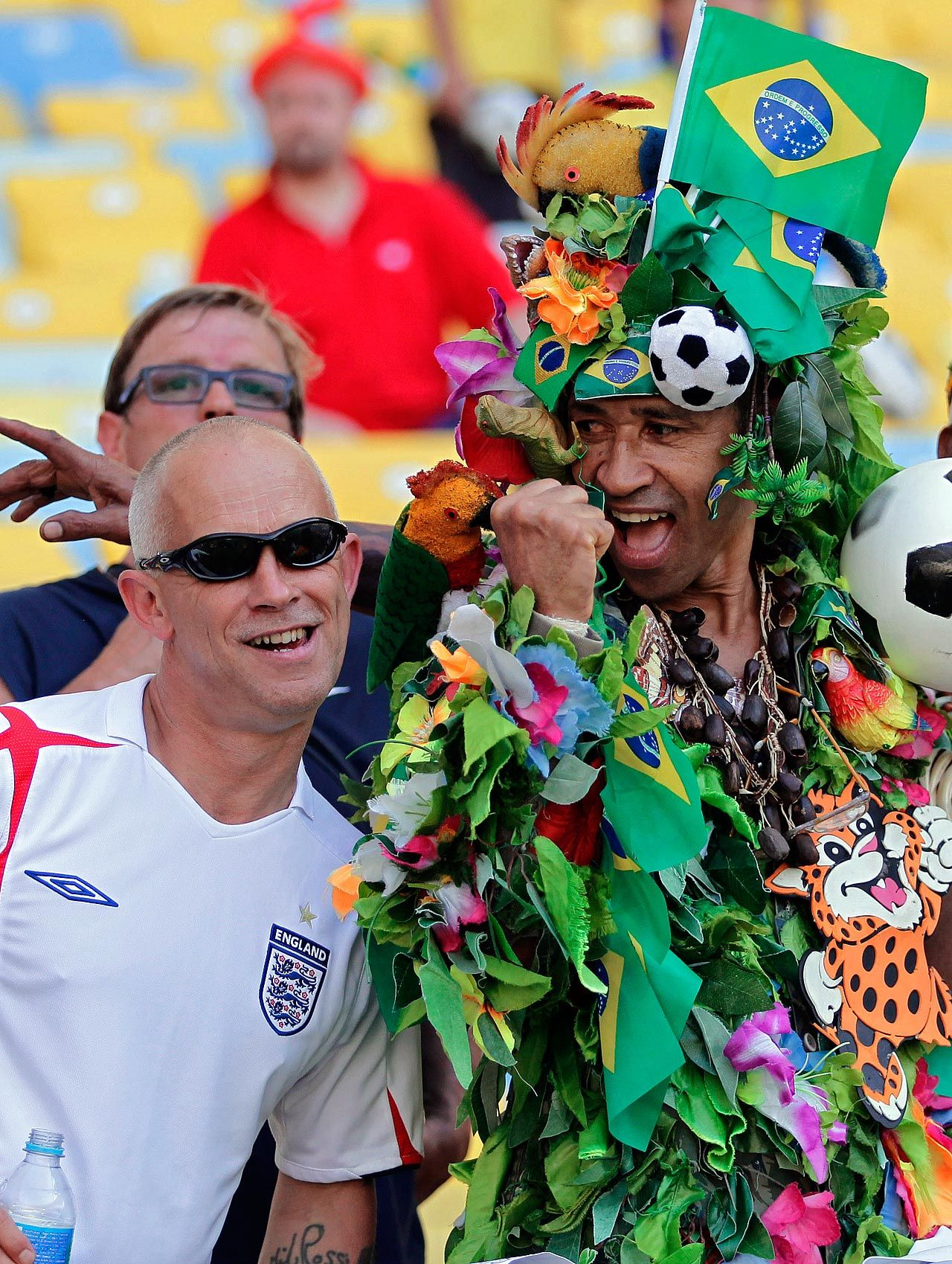 Fans A Brazilain Right And A England Fan Cheer Before A