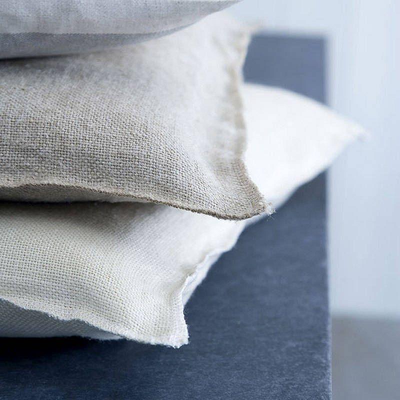 'Elham' selvedge edge linen cushion: Rowen & Wren