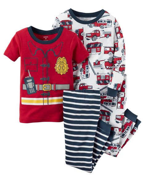 Little Boy Fireman Outfits Pyjamas For Little Boys 4 Piece Snug Fit Cotton Pjs Find It At Carter S Osh Baby Boy Pajamas Carters Baby Boys Toddler Pajamas