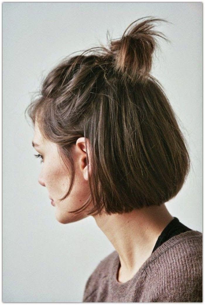 Hipster Half Top Knot Short Hair Styles Hair Styles Short Hair Dos