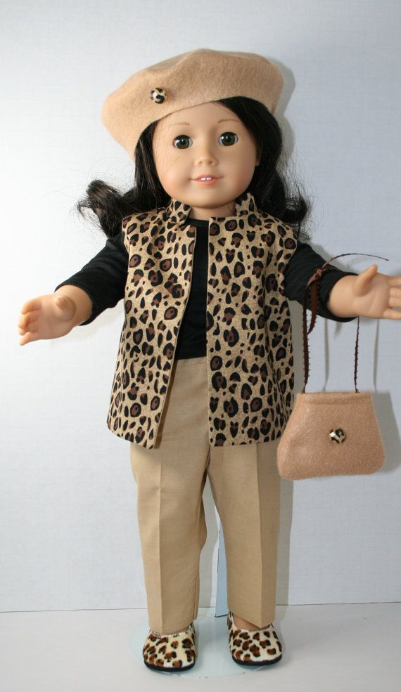 """Leopard Fedora Hat 18/""""  Doll Clothes Fits American Girl Dolls"""