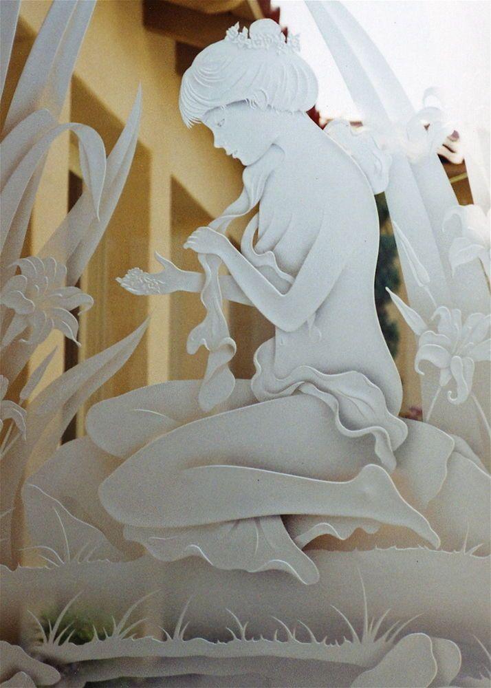 Fair Maiden - etched glass door maiden wading in reeds by Sans Soucie Art Glass.