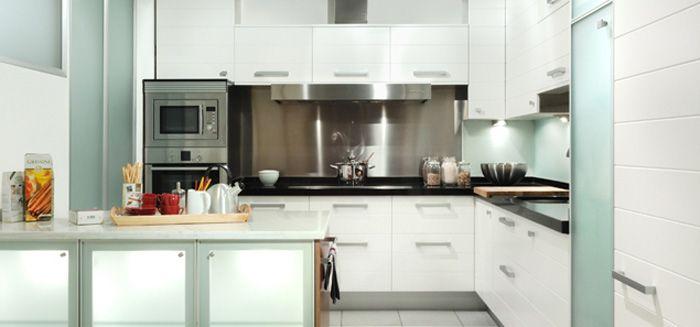 cocina Modelo #lacado #blanca con #península #cocinas #modernas ...