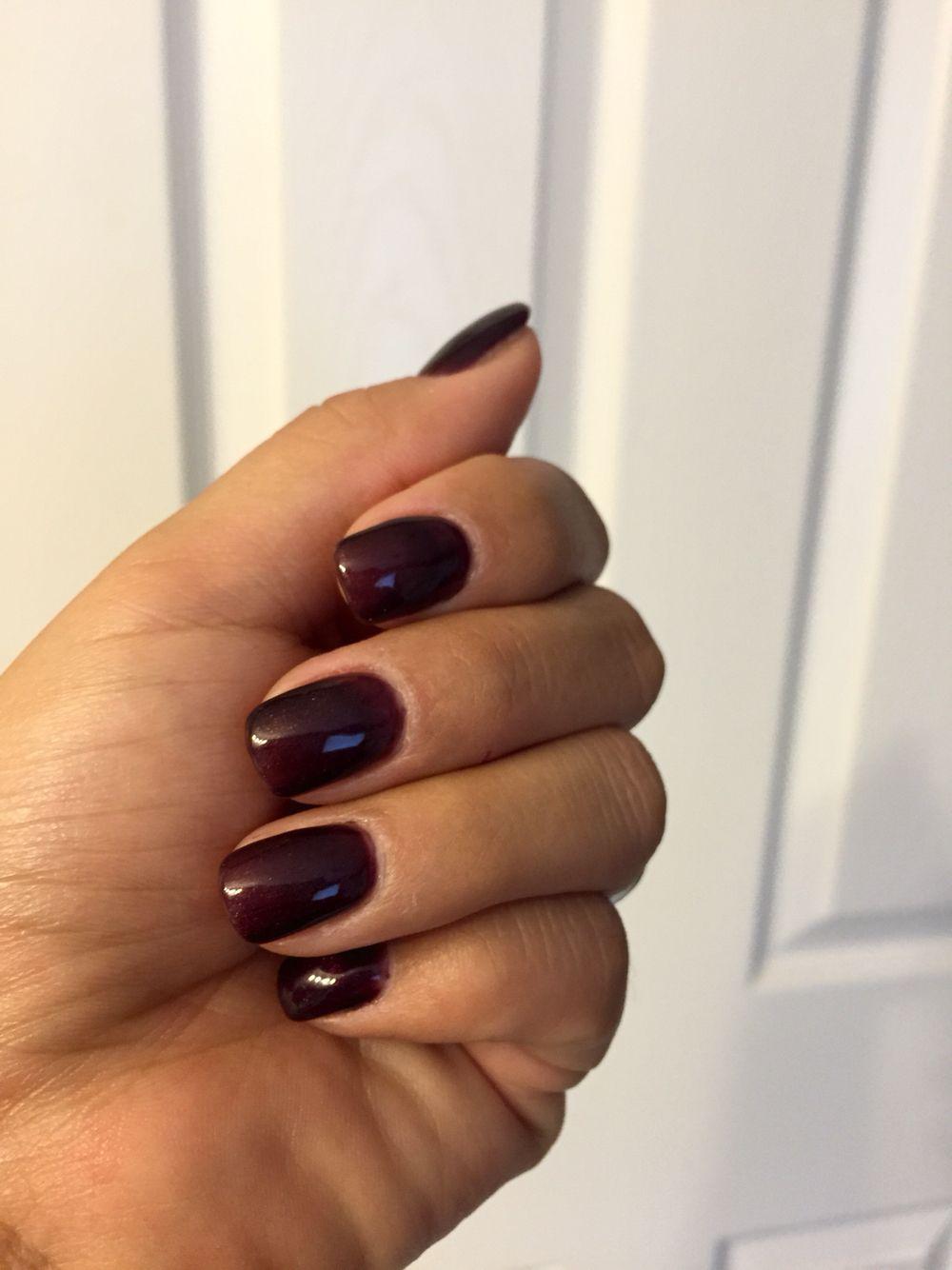 Short Acrylics, Dark purple gel polish. $18 | Nails | Pinterest ...