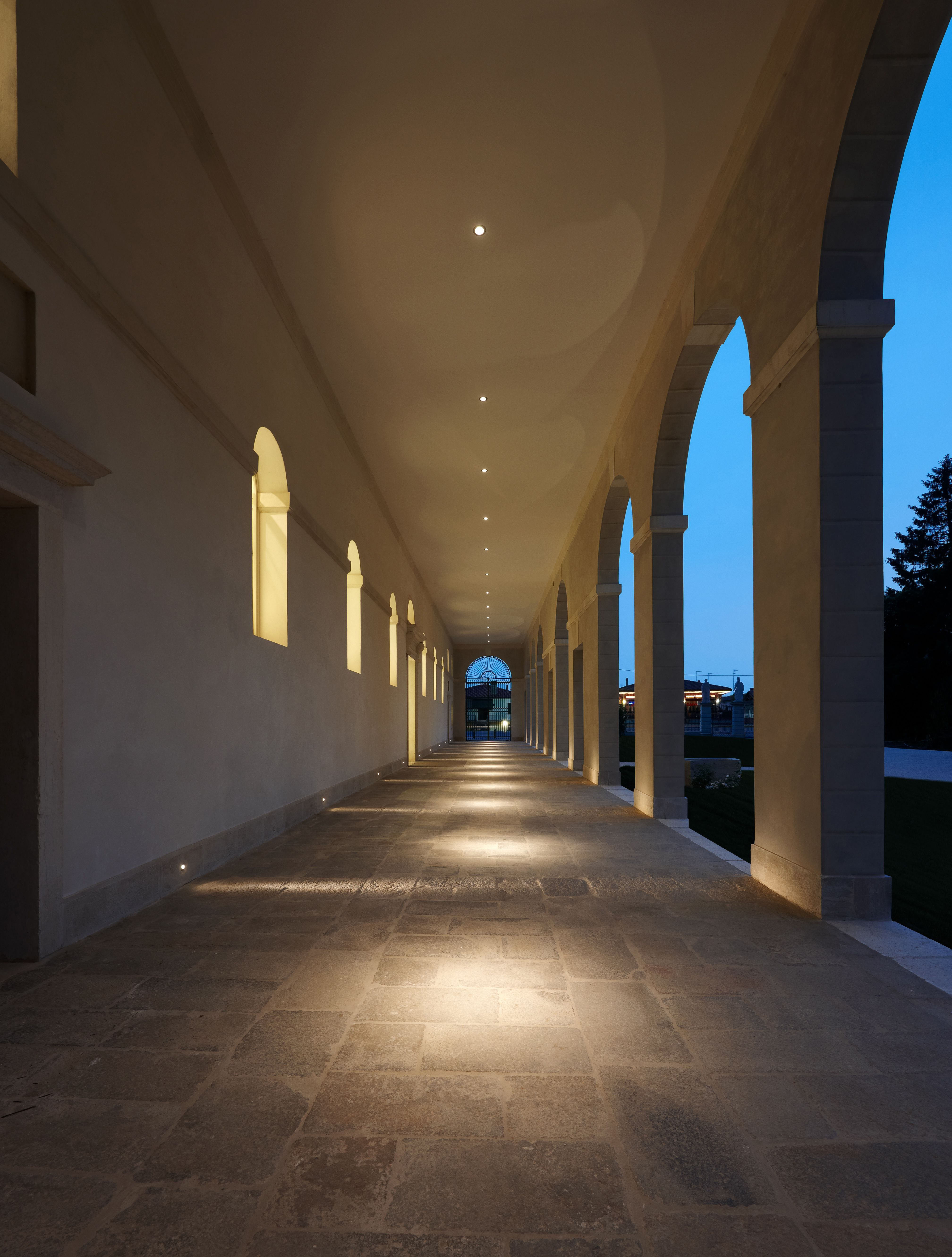 Hall lightingStep lighting perfectly executed in this outdoor hallway  Light it  . Exterior Recessed Canopy Lighting. Home Design Ideas