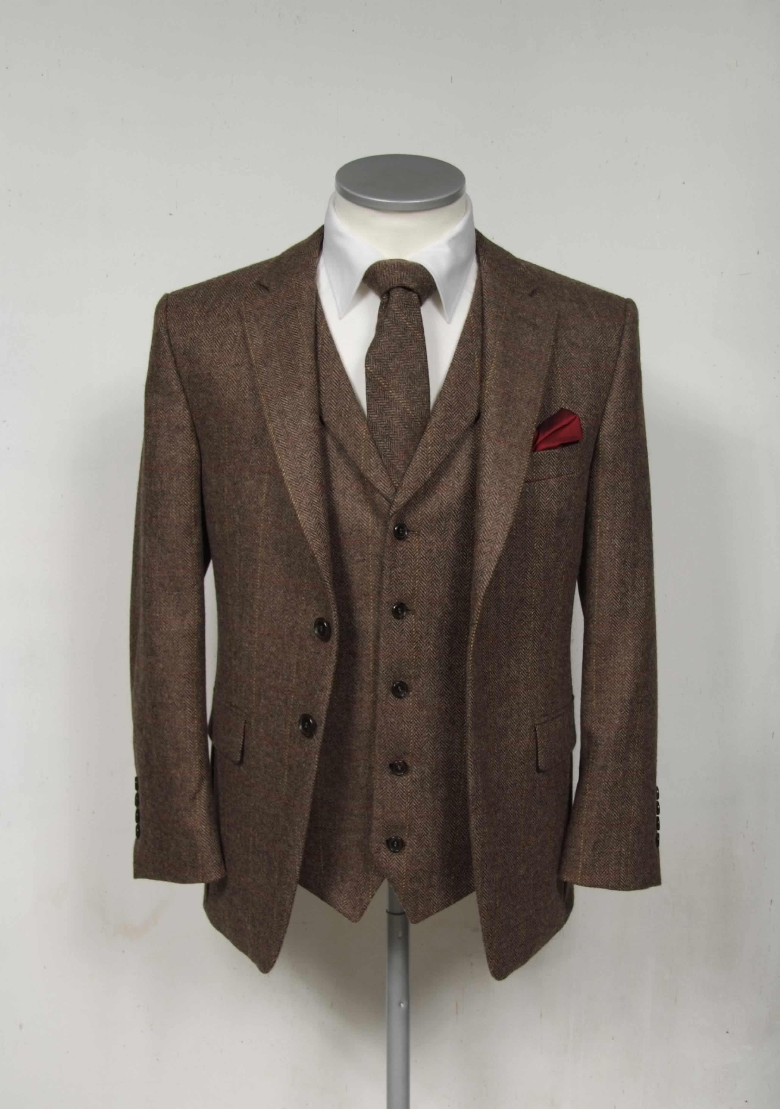 Brown Herringbone Tweed Men Suit Wedding Groom Notch Lapel Formal Tuxedos