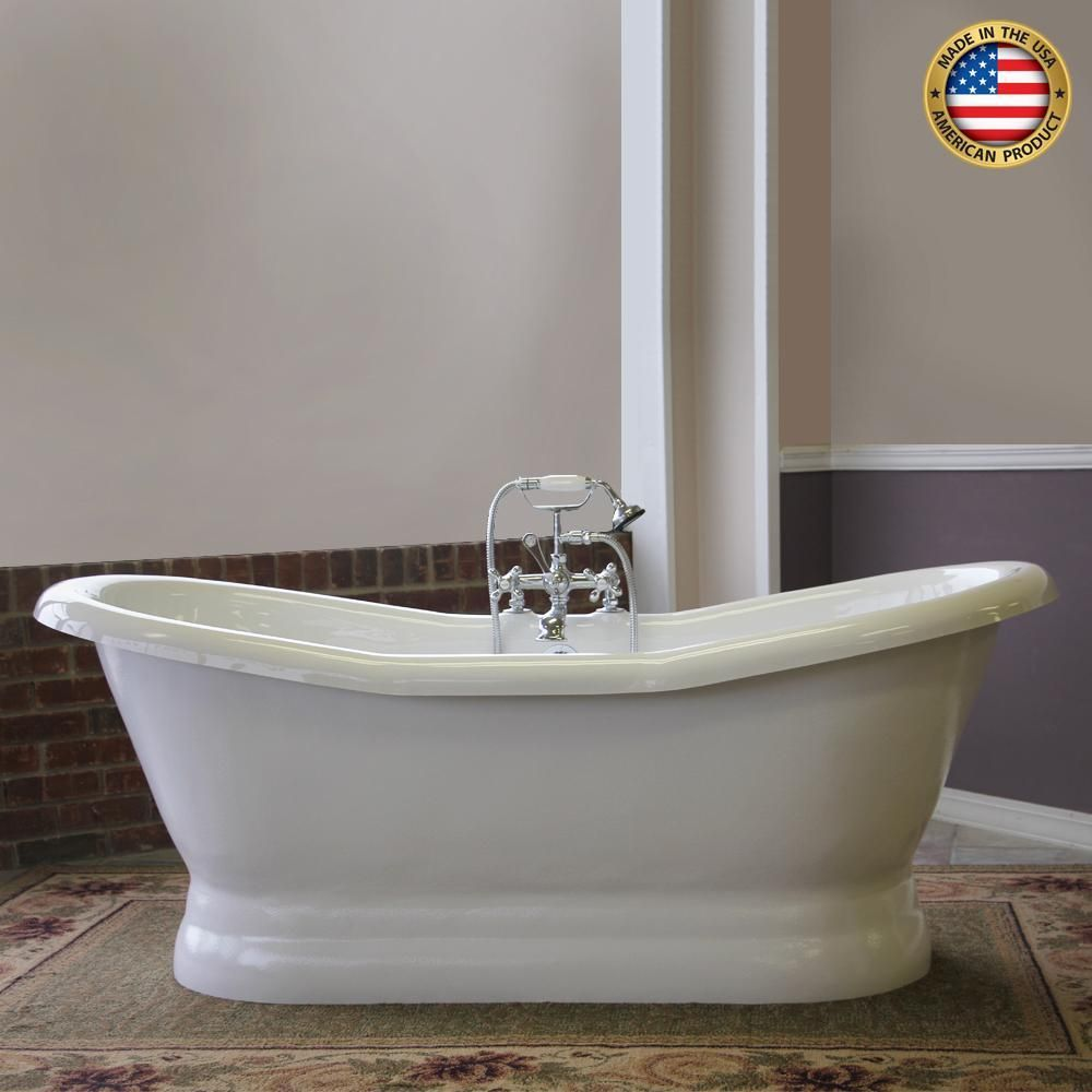 68 Empress Acrylic Double Slipper Tub With Pedestal Free Standing Clawfoot Bath