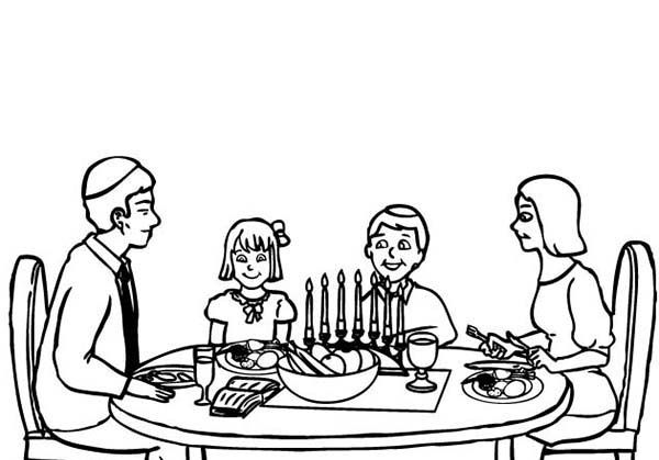 Coloring Dinner Eating Family Pages 2020 Free Christmas