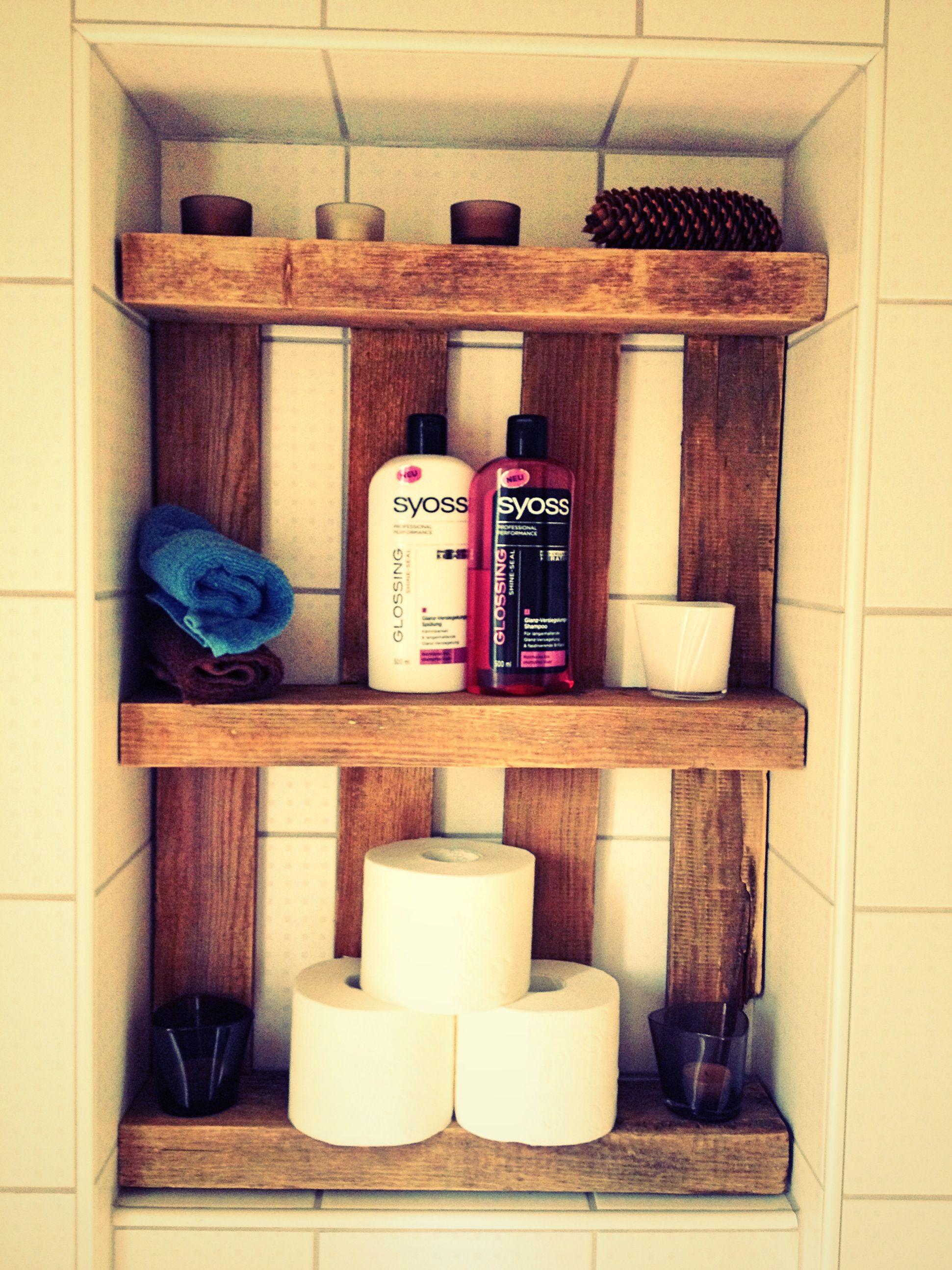 mini pallet met bathroom  floating shelves decor shelves