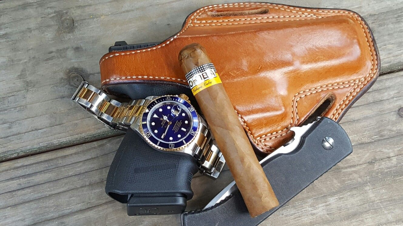 Rolex Submariner 16613, Emerson CqC and Glock 23 with today\'s cigar ...