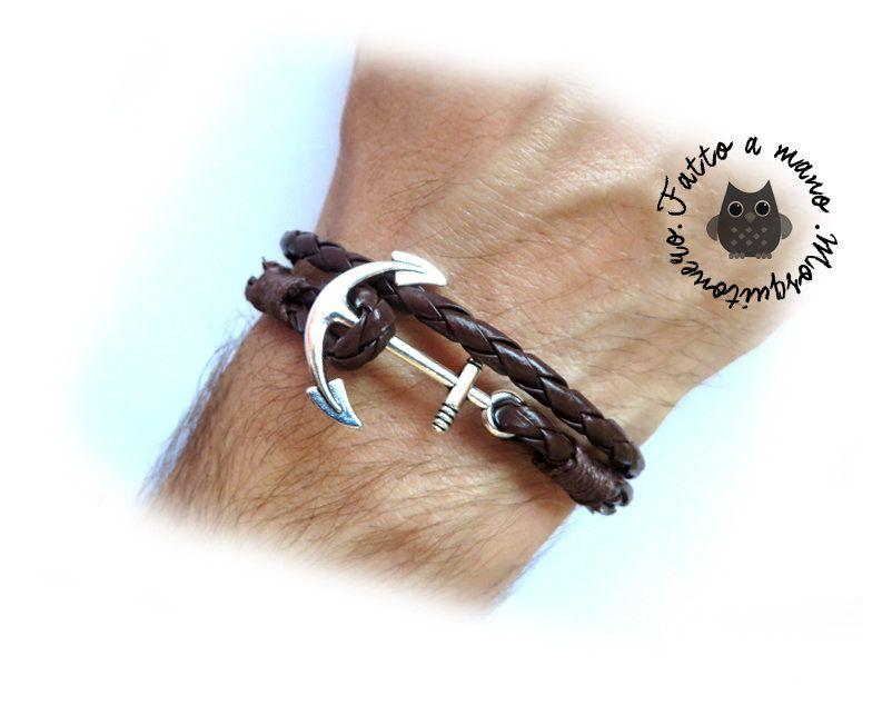Bracciale uomo ANCORA corda nautico pelle braccialetto marinaio ANCHOR  SILVER wrap