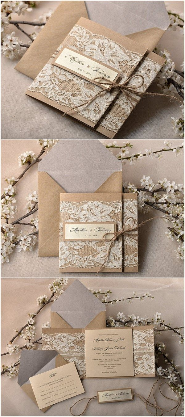 Charming Pocket Fold Rustic Recycling Paper Lace Wedding Invites Kits   Deer Pearl  Flowers