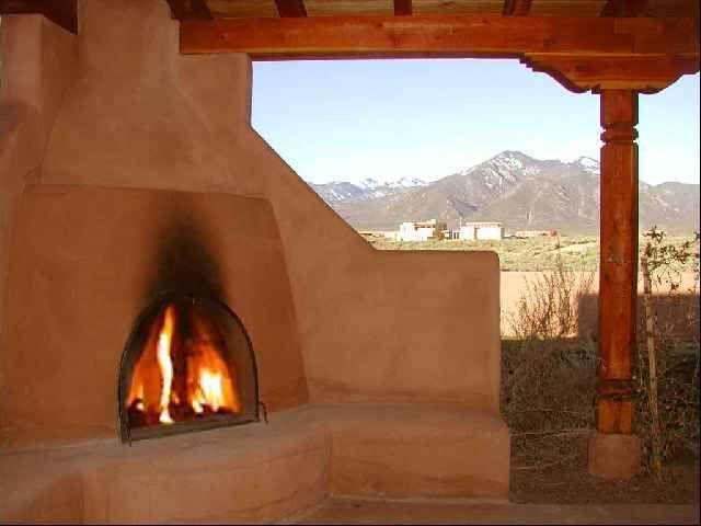 Burning Kiva Fireplace Outdoor Fireplace Backyard Fireplace