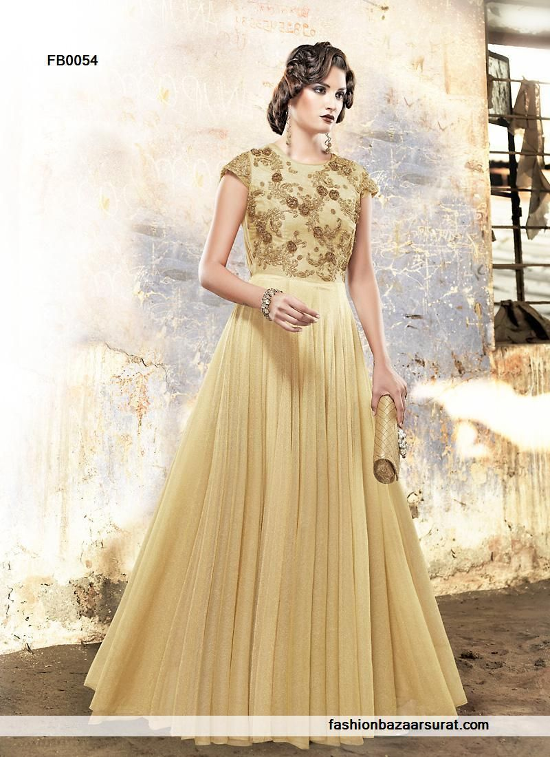buy Excellent Embroidery Work Brown Evening Gown online, buy Gown ...