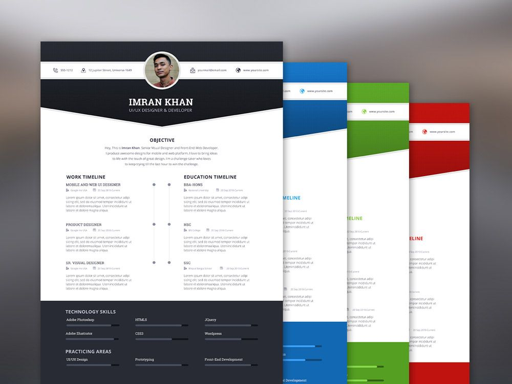 Free Resume Template with 4 Colors Options Free Resume