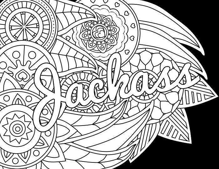 Jackass  Adult Coloring Page  Swear  Free Printable Coloring